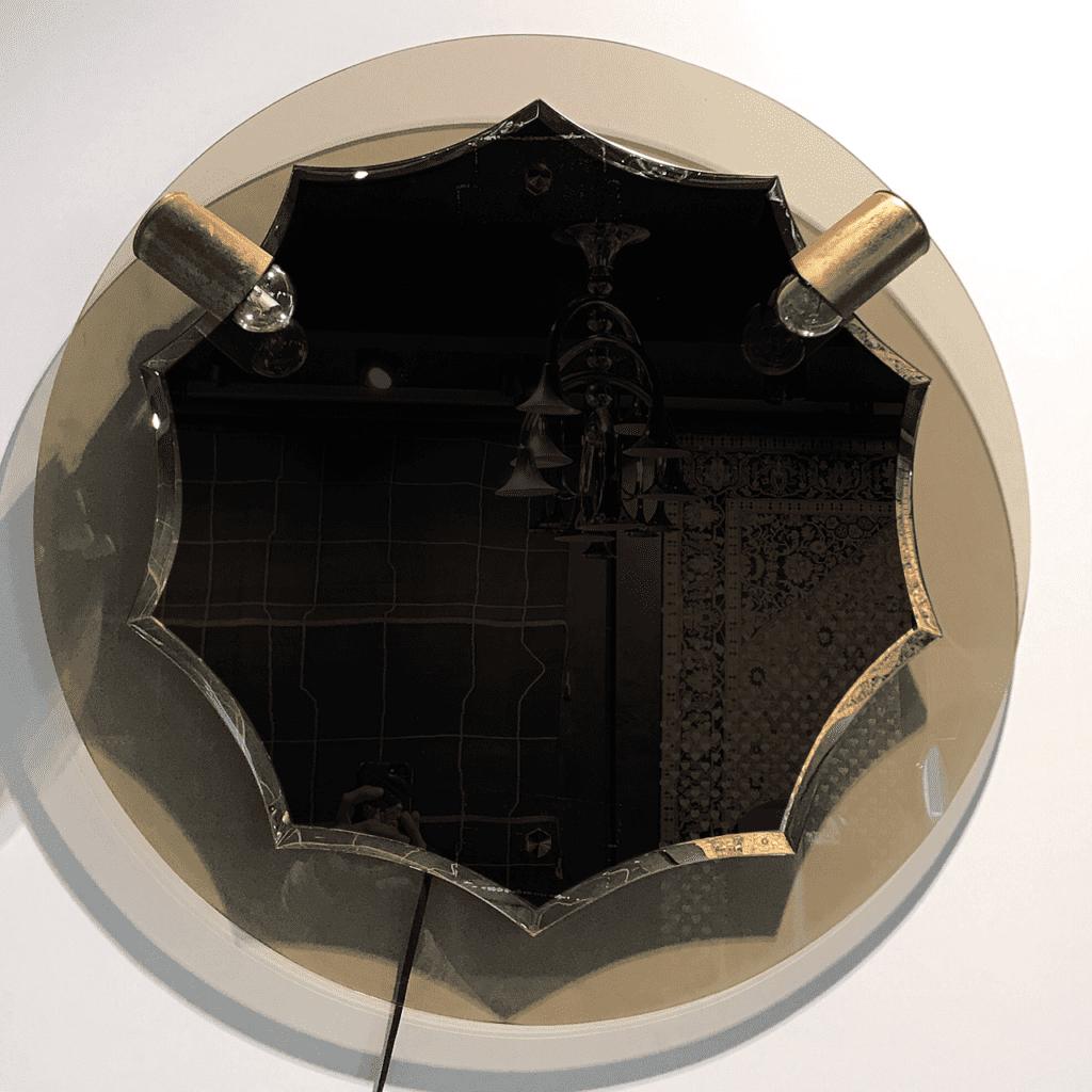 italienischer, runder Spiegel im Stil von Fontana Arte