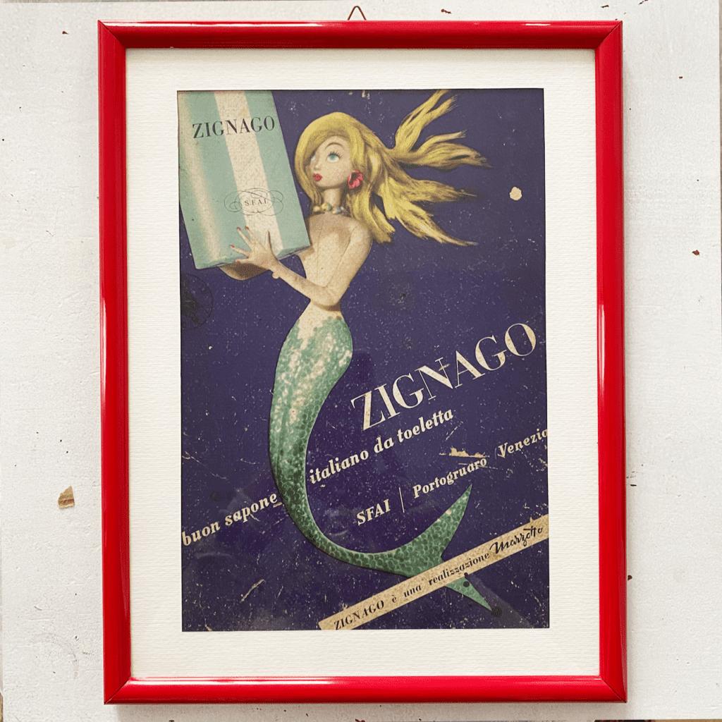 Gerahmte Werbung Zignago Sapone, Italien